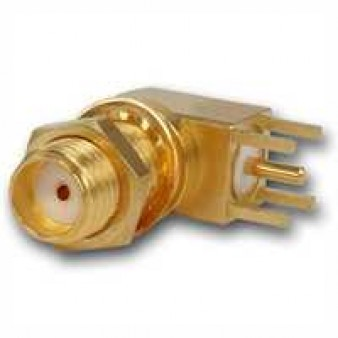 SMA Angel Bulkhead Receptacle, female, for Printed Circuits